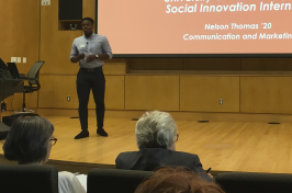 Nelson Thomas '20 making his presentation at the Social Innovation showcase.