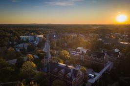 sunset over campus