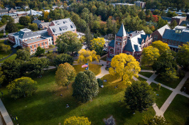 aerial view of UNH's Thompson Hall