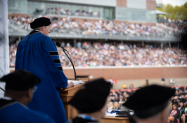Shawn Gorman, chairman of L.L. Bean, speaking to graduates at the University of New Hampshire's commencement on May 19