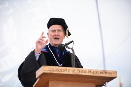 President of the University of New Hampshire Mark W. Huddleston speaking during 2018 commencement