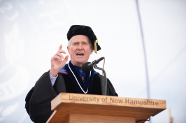 President of the University of New Hampshire Mark W. Huddleston speaking during 2018 commencement