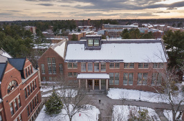 aerial view of UNH's Dimond Library in winter