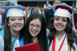Students at a high school graduation