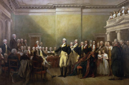 A painting depicting Washington resigning his commission