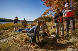Meghan Howey and students working along Great Bay