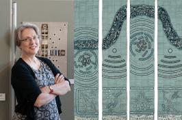 Artist Lindsay Olson next to her textile art.