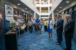 NASA administrator Jim Bridenstine and U.S. Sen. Jeanne Shaheen visited UNH to meet with faculty members and students