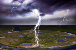 An illustration of lightning striking the Earth near an array of antennas.