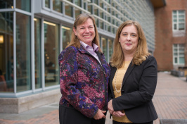 Associate Professor of Accounting Catherine Plante and Assistant Professor of Accounting Linda Ragland pose outside of Paul College
