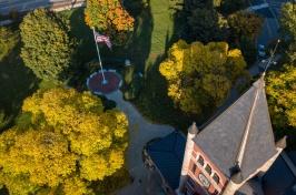 Overhead shot of Thompson Hall with fall foliage