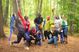 YES Africa Malawi participants doing the ropes course at The Browne Center