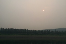 Hazy image of a landscape with faint sun