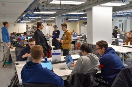 students at the ECenter during the hackathon