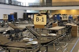 Hamel Rec Center set up with cots