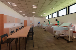 Rendering of Health Sciences Simulation Center clinical space