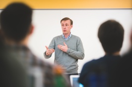 Jake Sullivan teaches a public policy class at the Carsey School of Public Policy