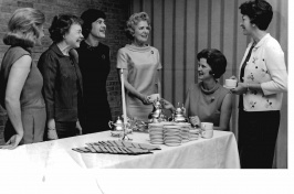 black and white of members of the League of Women Voters, with Mrs. Alan Polasky, second from right