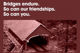 Bridges Endure text above a covered bridge
