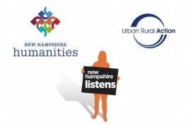 Logos for NH Listens, New Hampshire Humanities, and Urban Rural Action