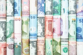 Photograph of money from different countries