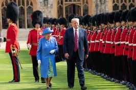 Queen Elizabeth and Donald Trump inspecting the guard
