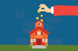 Graphic of a cartoon hand dropping coins into a school building.