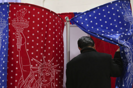 Man enters red and blue voting booth.