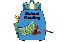 A backpack and the school funding logo on it