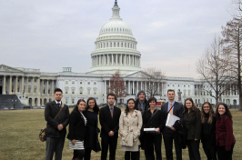 Master in Public Policy students standing in front of the Capitol Building in Washington, D.C., during the D.C. Colloquium.