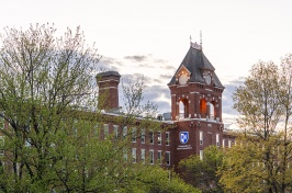 UNH Manchester building in the spring time