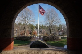 ROTC cadets guard flag pole