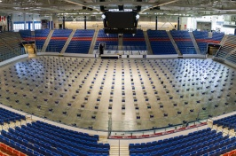 The Whittemore Center with chairs set up on the floor