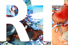 ART written in bolb white letters in front of a watercolor painting from last year's calendar