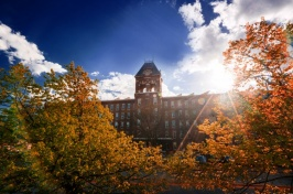 UNH Manchester building in fall