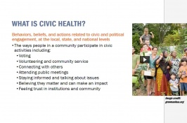 A slide taken from the presentation on Civic Health
