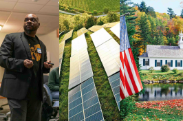 Photo collage showing, from left to right, NH Listens meeting, solar panels, and a NH community