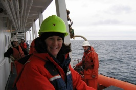 Jennifer Miksis-Olds aboard an ocean-going research vessel.