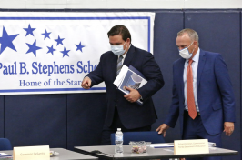 Florida Governor Ron DeSantis and Florida Education Commissioner Richard Corcoran at a roundtable event