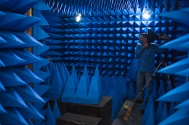 All blue room with acoustic pyramid-shaped foam