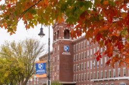 UNH Manchester building in the fall