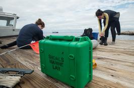 students at shoals marine lab preparing for dive
