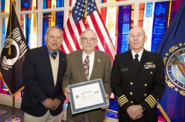 David Olsen receiving Patriots award