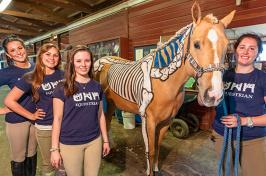 students witn horse skeletal demonstration