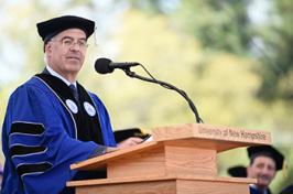 David Brooks, journalist and political commentator, delivered the speech at the University of New Hampshire commencement Saturday, May 18, 2019, in Durham