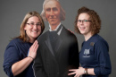 """assistant director of Donor Relations Emily Moore '06 and administrative assistant Lisa Santilli '11 pose with UNH Founding Benefactor Ben Thompson at the Nov. 14 """"A Thousand Thanks"""" event"""