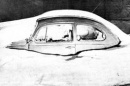 volkswagen covered by snow from 1978 blizzard