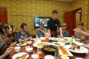 UNH students eating lunch in China