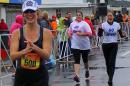 jenn higgins with supporters running marathon