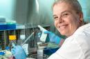 nancy fernades in the lab